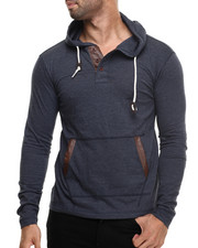 Men - Faux Leather Trim Novelty Pullover Hoodie