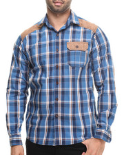 Buyers Picks - Plaid Shirt w/ Suede Detail button down shirt