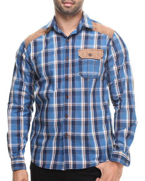Buyers Picks - Men Blue Plaid Shirt W/ Suede Detail Button Down Shirt