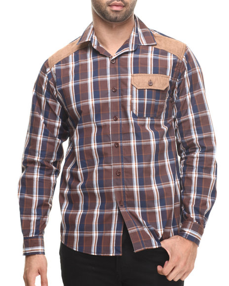 Buyers Picks - Men Brown Plaid Shirt W/ Suede Detail Button Down Shirt
