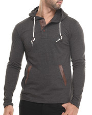 Hoodies - Faux Leather Trim Novelty Pullover Hoody