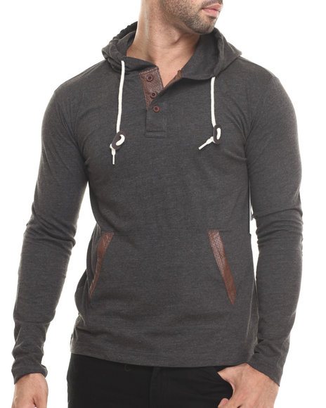 Buyers Picks - Men Charcoal Faux Leather Trim Novelty Pullover Hoody - $28.99