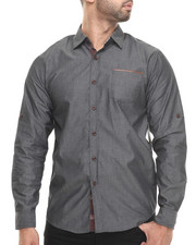Shirts - Chambray/Faux Leather L/S Button down shirt