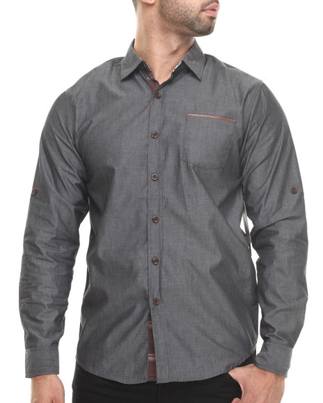 Aknowledge Grey Chambray/Faux Leather L/S Button Down Shirt