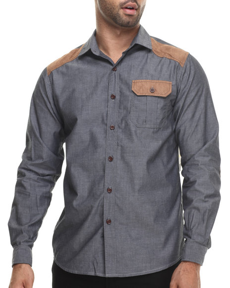 Aknowledge Black Ultra Suede Detail Chambray L/S Button Down Shirt