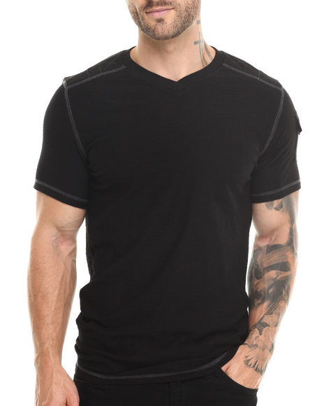 Basic Essentials - Men Black Reversed Slub  V-Neck S/S Tee
