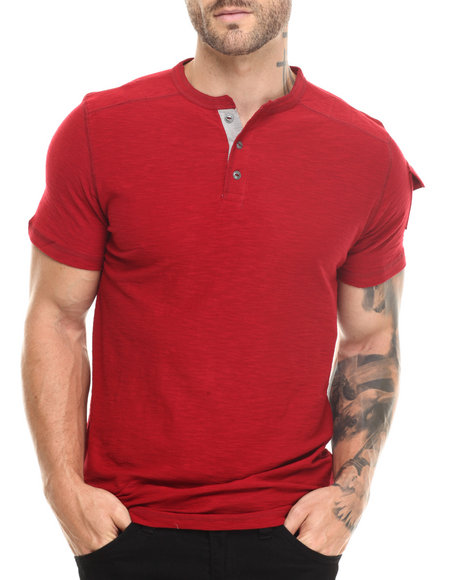 Buyers Picks - Men Red Contrast Henley S/S Tee