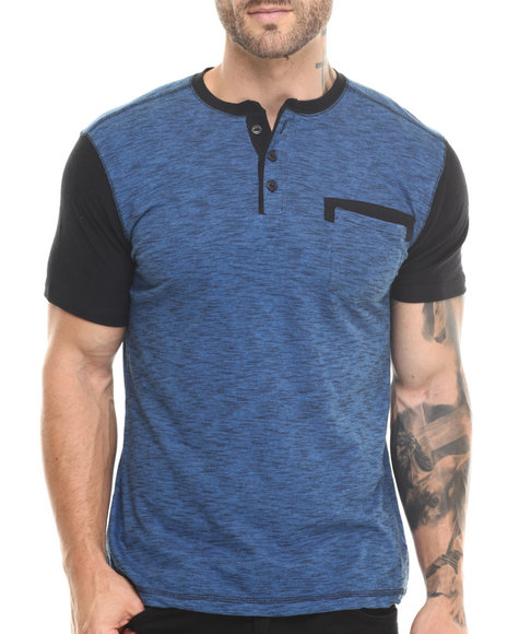 Buyers Picks - Men Blue Henley Novelty Pocket S/S Tee