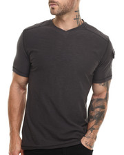 Men - Reversed slub  V-neck s/s Tee