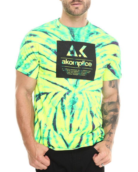 Akomplice - Men Neon Yellow,Green Evo Box Logo Wild Spider Tee - $19.99