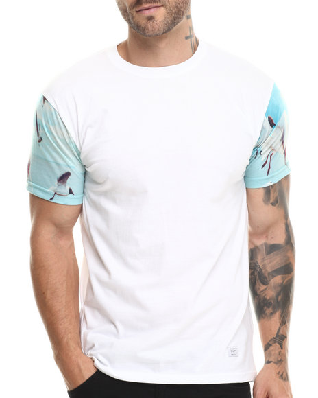 Akomplice White Birds Heaven Sleeve Print Tee