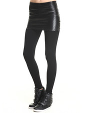 Women - Shiny Perfed Mini Skirt W/ Leggings