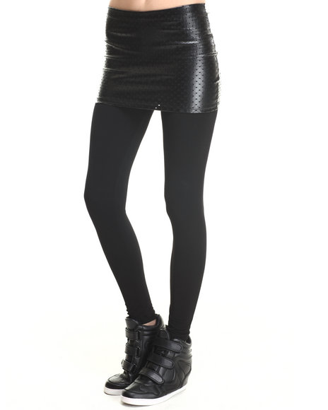 Walking Candy Black Shiny Perfed Mini Skirt W/ Leggings