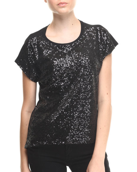 Walking Candy - Women Black Night - Time Sequined Top