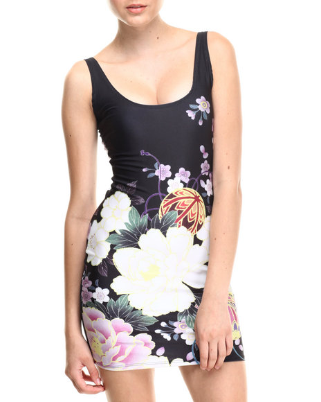 Walking Candy Black China Flower Subliimated Mini Dress