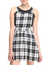 Women - Plaid Overall Dress