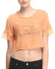 Tops - Lace Trim Chiffon Cropped Top