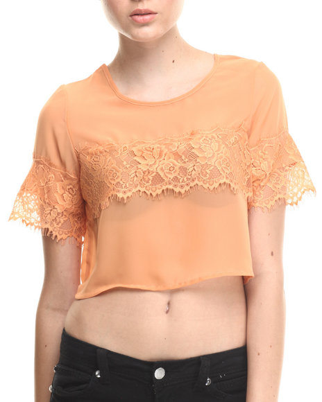 ALI & KRIS - Lace Trim Chiffon Cropped Top