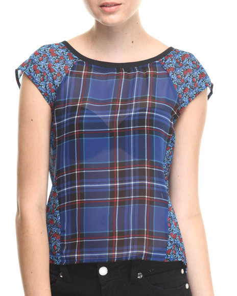 ALI & KRIS Blue Plaid Floral Chiffon Short Sleeve Top