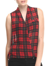 Women - Plaid Cross Front Chiffon Hi-Low Hem Top