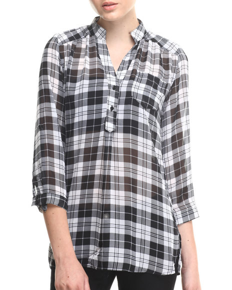 ALI & KRIS Black,White Plaid Chiffon Shirt