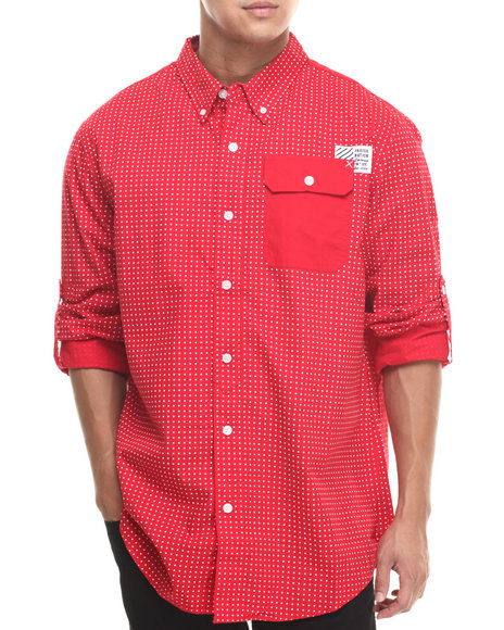Parish Red Stars L/S Button Down