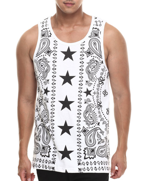 Buyers Picks - Men White Bandana N Stars Tank Top - $11.99