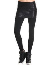 Women - Black Wave Mini Skirt W/ Leggings
