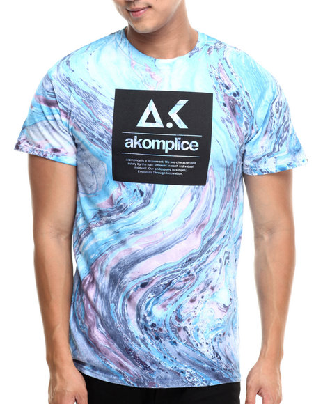 Akomplice - Men Blue,Purple Evo Box Logo Marble Tiger Tee - $21.99