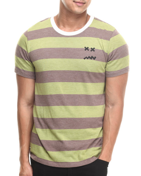 Don't Care - Men Brown,Green Striped Standard Tee