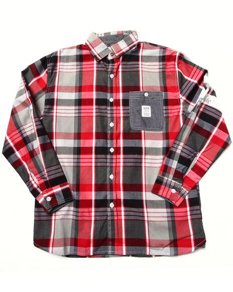 Parish - Boys Red Plaid Woven Shirt (8-20)