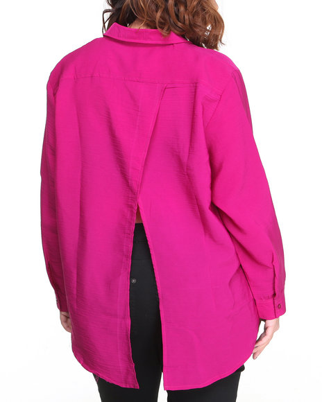 Apple Bottoms Pink,Red Studded Collar & Pockets Roll-Up Sleeve Shirt (Plus Size)