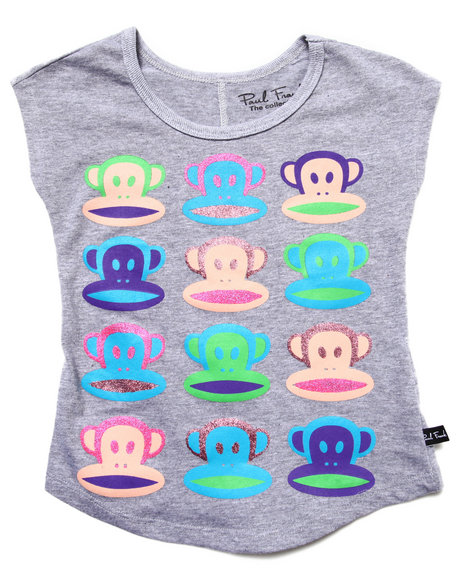 Paul Frank - Girls Light Grey Multi Julius Faces Tee (4-6X)