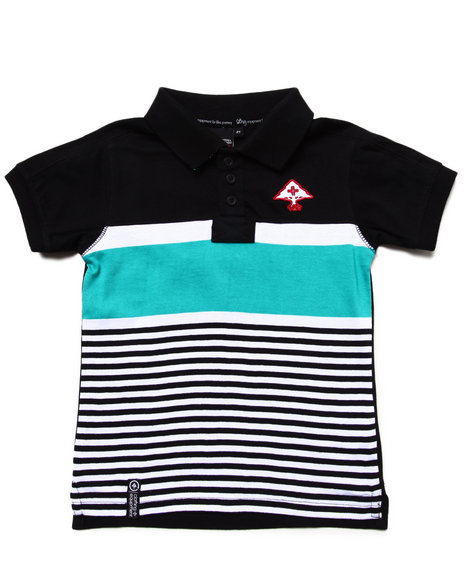 LRG Boys Black Stay Lifted Polo (2T-4T)