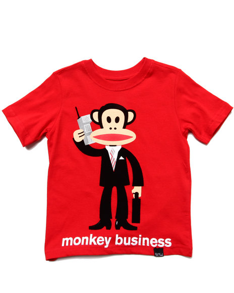 Paul Frank Boys Red Monkey Business Tee (2T-4T)