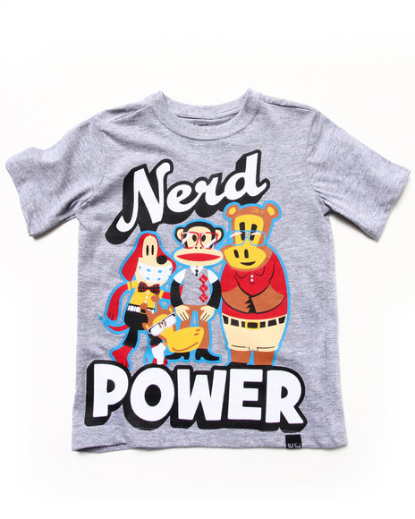 Paul Frank Boys Light Grey Nerd Power Tee (2T-4T)