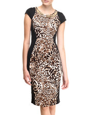 Almost Famous - Leopard Front Neckline Midi Dress