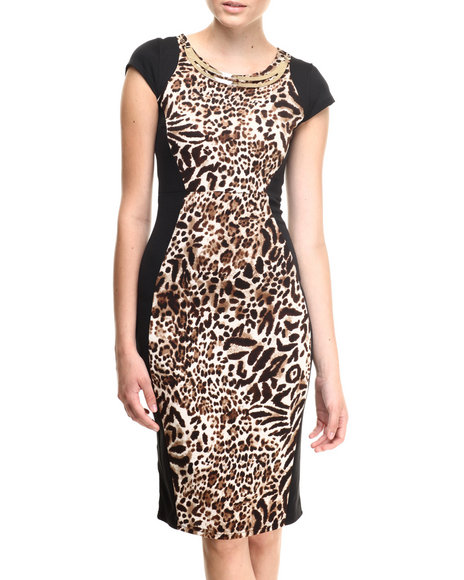 Almost Famous - Women Animal Print,Brown Leopard Front Neckline Midi Dress - $30.00