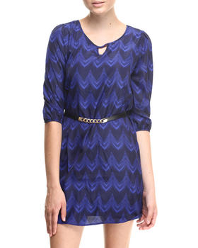Almost Famous - Chevron Print Belted Shirt Dress