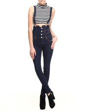Almost Famous - Highwaisted Indigo Skinny Overall