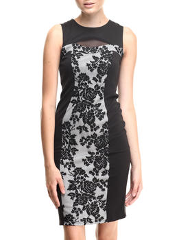 Almost Famous - Lace Front Cut-Out Zip Back Midi Dress