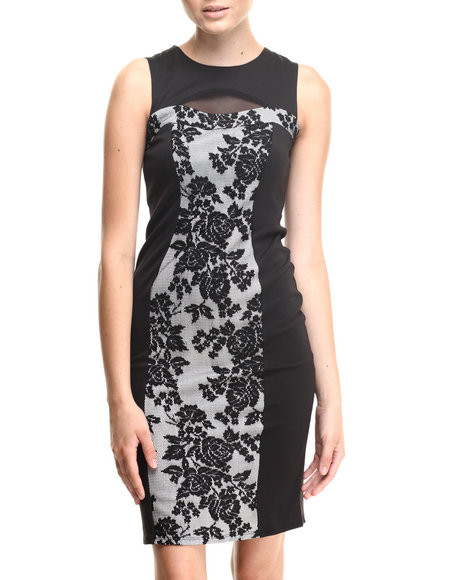 Almost Famous - Women Black,White Lace Front Cut-Out Zip Back Midi Dress - $26.99
