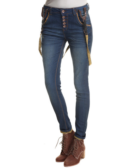 Bianco Jeans - Women Dark Wash Removable Leather Suspender Skinny