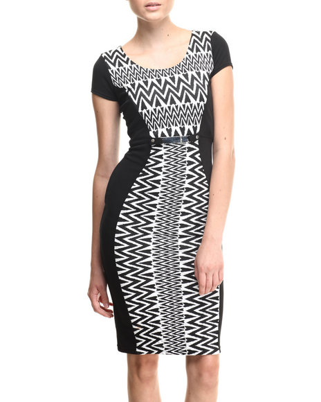 Almost Famous - Women Black,White Chevron Texture Belted Trim Midi Dress - $27.99