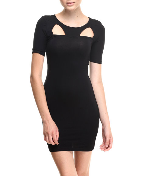Almost Famous - Women Black Cutout Jersey Knit Sexy Little Black Dress - $30.00