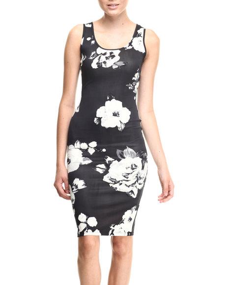 Almost Famous Black,Cream Floral Print Scuba Sexy Sheath Dress