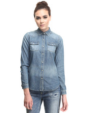 Tops - Classic denim western shirt