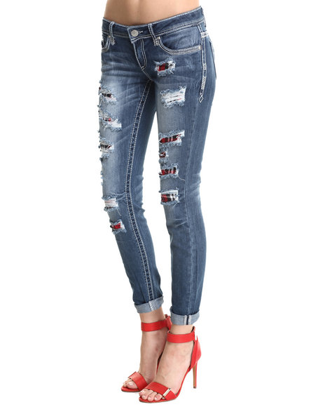 Almost Famous - Rip & Repair Plaid Mini Roll Jean