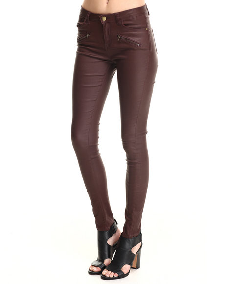 Bianco Jeans - Women Maroon Zip Trim Super Stretch Skinny Coated Jean