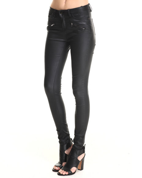 Bianco Jeans - Women Black Zip Trim Super Stretch Skinny Coated Jean